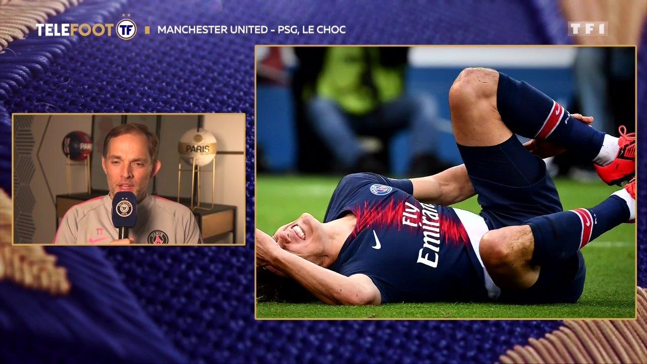 """[EXCLU Téléfoot 10/02] - Tuchel sur la blessure de Cavani avant Man United - PSG : """"Ça va être difficile qu'il joue"""""""