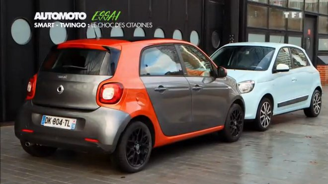 essai vid o smart forfour contre renault twingo automoto tf1. Black Bedroom Furniture Sets. Home Design Ideas